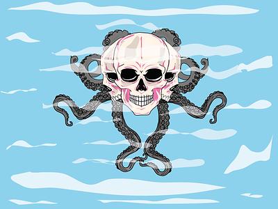 KrakenSkull vector draw illustration design