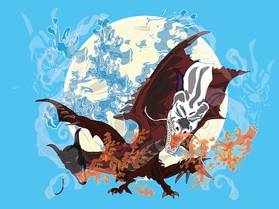Twin Dragon vector draw design illustration