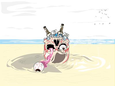 beachskull beer quilmes vector draw illustration design