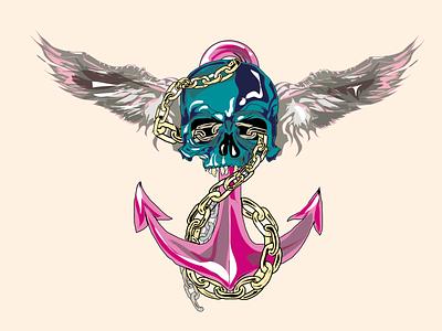 AnchorSkull draw vector illustration design