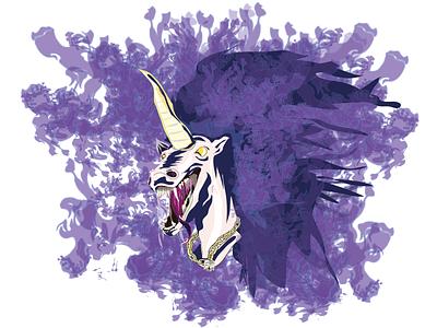 Unicorn Of Death draw vector illustration design