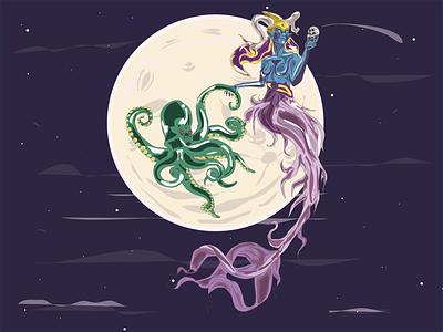 El Pulpo y la Sirena print art sirene kraken moon argentina draw vector design illustration