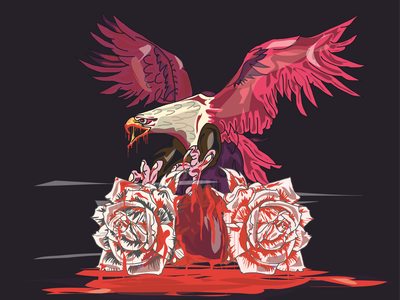 BloodRose art zombie blood rose american america eagle argentina vector draw illustration design