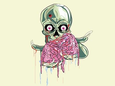 EatBrain apocaliptics zombie brain skull alien argentina vector draw illustration design