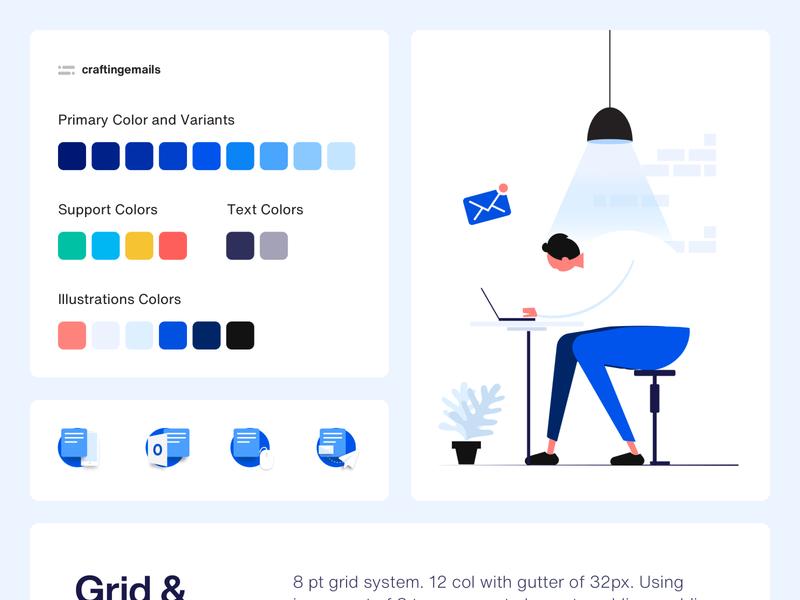 Rebranding and Illustration for craftingemails design system ux ui branding guideline sketch illustration landing page