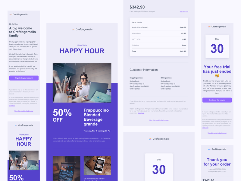 Free Email templates receipt email design system figma sketch responsive email password reset email welcome email email template email design email marketing email receipt email templates