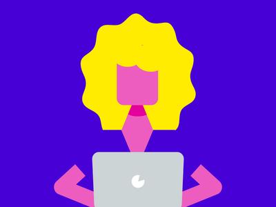 Flat pinkish person on laptop negative space illustration icon flat person laptop yellow pink