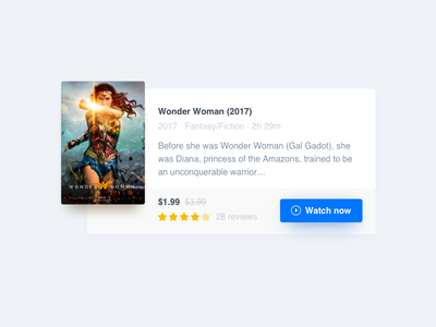 Wonder woman shadow white blue yellow stars rating play poster ui card movie