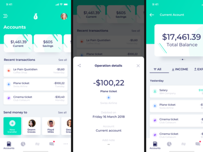 Mobile Banking app prototype product design ux ui green app prototype account bank banking mobile