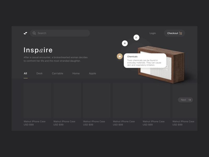 E-commerce Black theme sketch design ui landing ecommerce page