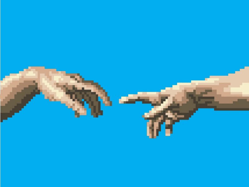 Image result for michelangelo pixel art