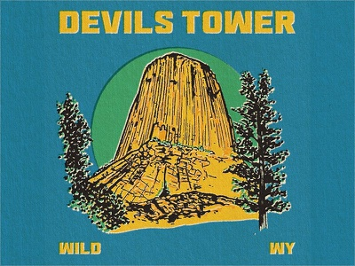 Devils Tower Retro Illustration gritty texture illustration wyoming devilstower nature outdoors vintage retro