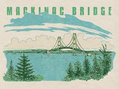 Mackinac Bridge Michigan retro illustration illustration retro puremichigan michigan mackinac bridge mackinac