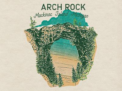 Arch Rock Michigan archive retro illustration illustration retro mackinac island mackinacisland puremichigan michigan archrock