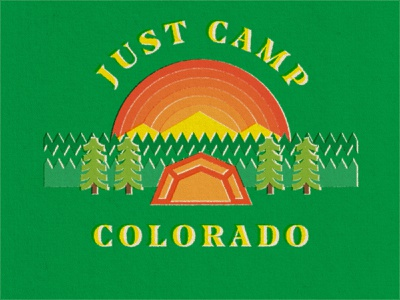 Just Camp Colorado mountain thicklines sunset tent stickers nature outdoor retro camp camping colorado