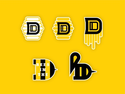 Bees in the D thicklines logo icon beehive honeycomb honey stickers michigan detroit honey bees honeybees bees