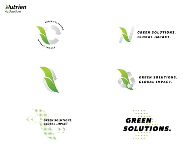 Nutrien Ag Solutions Sustainability Logo Comps recycle recycing agriculture logo global leaf corporate cobranding branding farming agriculture sustainability