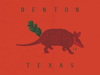 Denton Texas texture retro cactus illustration denton armadillo texas