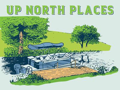 Up North Places boating lake vacation camping illustration retroillustration retro puremichigan michigan pontoon boat pontoon boat