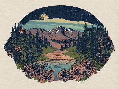 The Great Outdoors hiking colorado backpacking retro illustration nightsky mountain outdoors