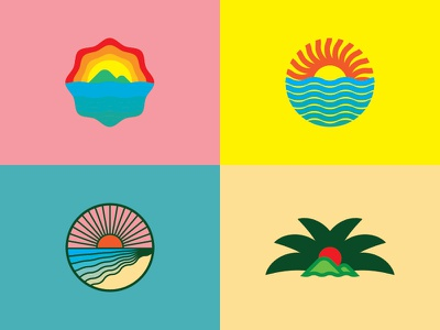 Wave of Growth agriculture wave aloha hawaiian ocean sunset logo icon badge hawaii
