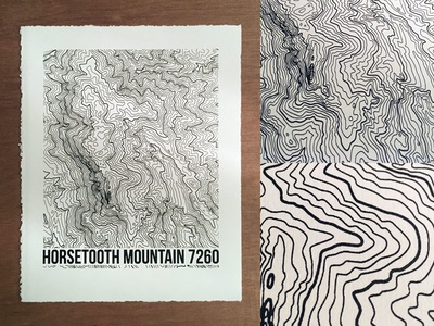Horsetooth Mountain Topo peak fort collins northern colorado colorado mountain horsetooth mountain topographic map screenprint topography topo