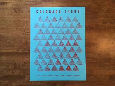 Colorado 14ers Poster Raspberry screenprint backpacking topography topo peak mountain colorado 14er