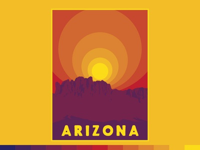 Arizona Rays adventure travel nature outdoors vintage retro fat lines summer sunrise sun arizona