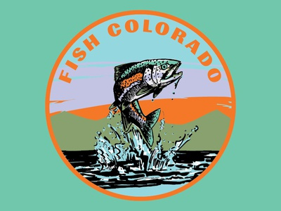 Fish Colorado badge nature outdoors flyfishing mountains colorado rainbow trout trout fish