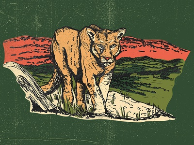 Mountain Lion Parks Project illustration retro texture outdoors montana wyoming colorado mountain mountainlion nationalparks parks parksproject