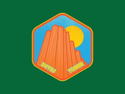 Devils Tower Badge outdoors nature texture vintage retro badge patch butte nationalpark wyoming devilstower
