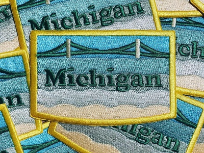 Michigan Patch thicklines embroidered lakemichigan mackinacbridge puremichigan michigan patch