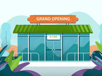 Grand opening texture grain shop store design illustration