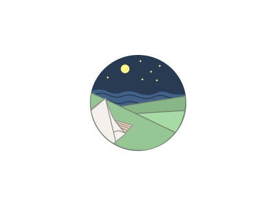Supermoon Glamping outdoors ocean moon stars camping icon sanfrancisco sf illustration design