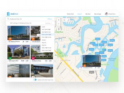 Realstax Webapp Search & Sort