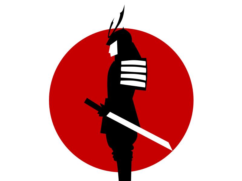 Black Samurai japan red lines illustration minimal japanese sword circle black vector samurai