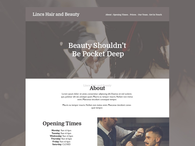 Lincs Hair And Beauty concept web design website ui ux design