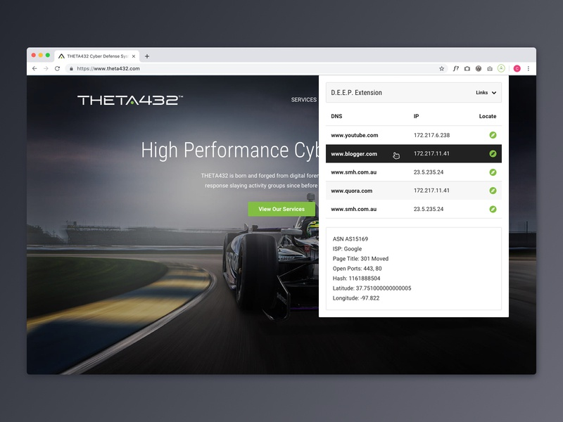 Chrome Extension cybersecurity racecar interface hover state chrome extension