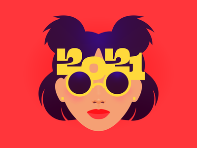 2️⃣0️⃣2️⃣1️⃣ face lady cute glasses asian new year happy new year 2021 girl woman portrait