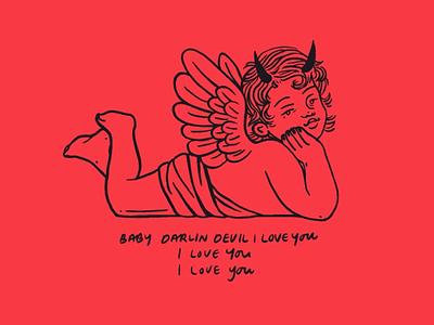 baby darlin devil illustration red indigo desouza lyrics music cute demon hell heaven evil devil angel cherub