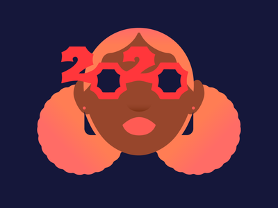 2020 illustration pretty hair pink glasses new year party black girl magic poc 2020 happy new year new year