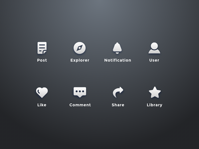 Icons for a medium app flat material icon