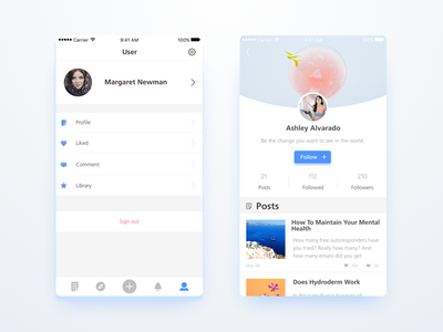 Some pages of a concept APP  page user