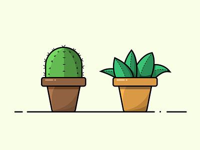 Pot plants 01 illustration