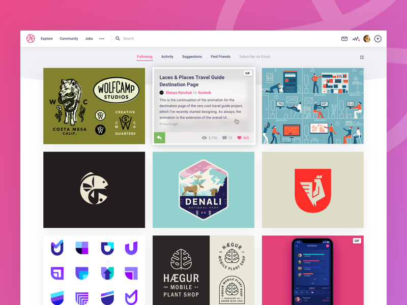 Dribbble redesign shot