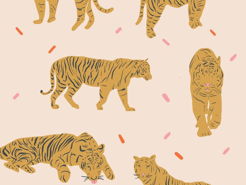 Here Kitty Kitty - Tiger Art textile design textile designer surface pattern design patttern art patterns pattern design surface pattern tiger pattern tiger king tigers tan beige gold fun pattern tiger adobe fresco