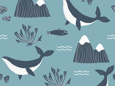 Pacific Northwest Pattern with Whales and Mountains fishing animals whale oceans vector painting northwest pacific sea mountain ocean fish mountains whales