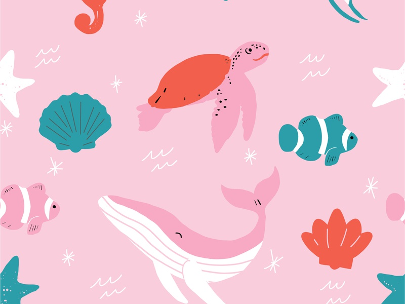 Pink and Red Tropical Beach Pattern vector illustration vectors seamless pattern repeat pattern tropical ocean green red pink repeat seamless nemo starfish whale sea turtle