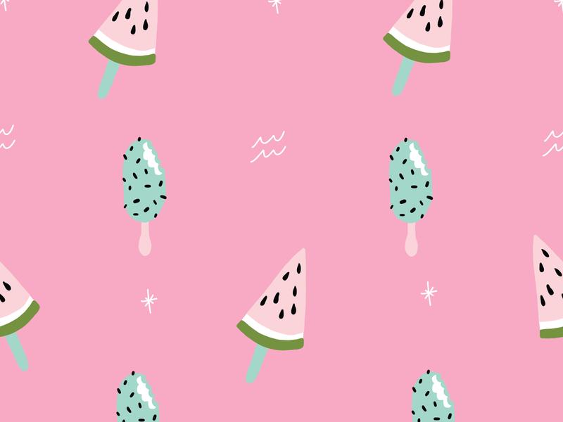 Pink Vector Summer Popsicle Pattern cream ice treats frozen sweets beach summer sun fun watermelon summertime popsicle pink