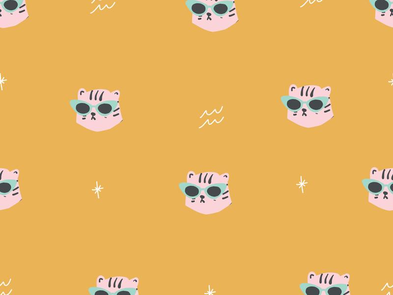 Cool cat pink leopard with blue glasses leopard tiger king tiger illustration ai vector illustrator seamless patterns trendy hipster pattern retro blue pink gold
